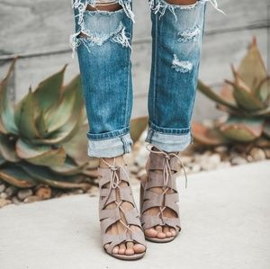 Cut Out Lace Up Booties